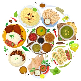 Authentic indian food, original delicious taste banner,   illustration. spicy asian foodstuff, piquant flavor meal product.