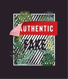 Authentic sticker on stripe and palm leaf background