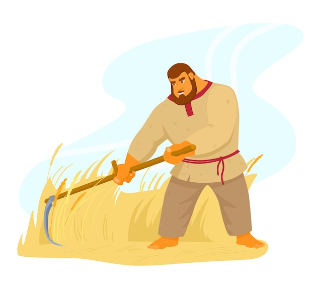 Authentic traditional strong peasant barefoot mows the grass with a hand scythe. bogatyr in russian shirt character. rural worker. strong man. harvesting rye. cartoon vector illustration.