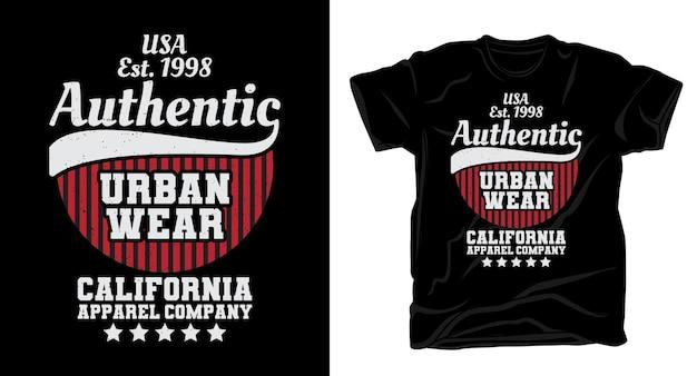 Аутентичный дизайн футболки с типографикой городской одежды