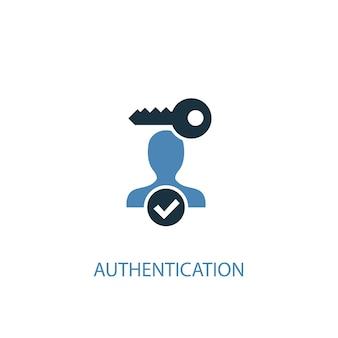 認証コンセプト2色のアイコン。シンプルな青い要素のイラスト。認証コンセプトシンボルデザイン。 webおよびモバイルui / uxに使用できます