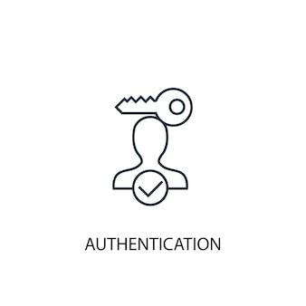認証コンセプトラインアイコン。シンプルな要素のイラスト。認証コンセプトの概要シンボルデザイン。 webおよびモバイルui / uxに使用できます