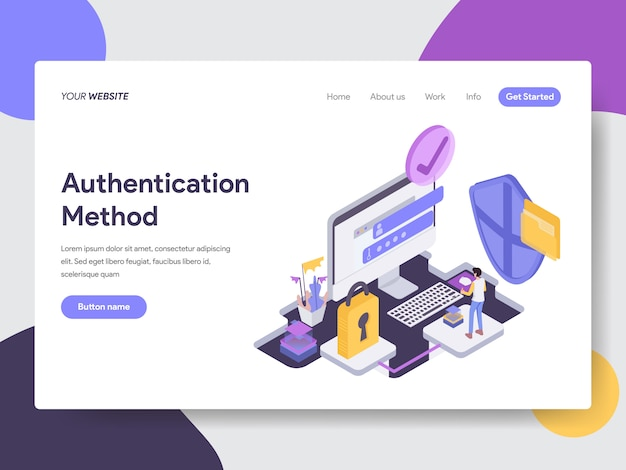 Authentication method isometric illustration for web pages