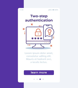 Authentication in two steps mobile banner with line icon