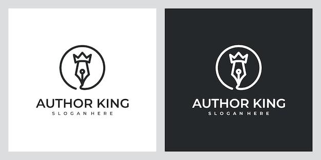 美しいラインアートのロゴデザインのインスピレーションを持つ作家の王