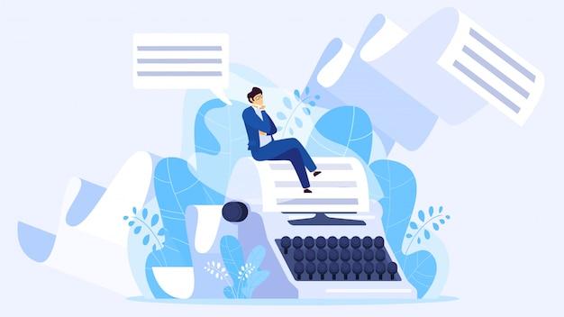 Author writing a book, tiny man sitting on huge typewriter, illustration