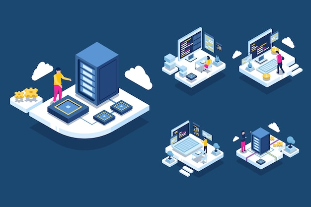 Власти, работающие в помещении центра обработки данных, размещающем серверный компьютер, предоставляют информационные услуги для бизнеса, изометрическая иллюстрация концепции