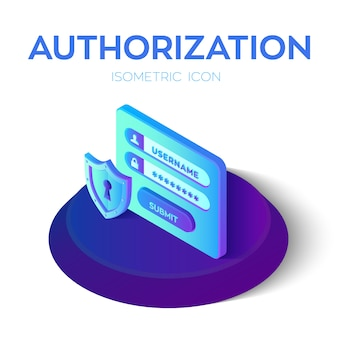 Authorization login with password. security shield icon. 3d isometric icons of access user account. protected login form.