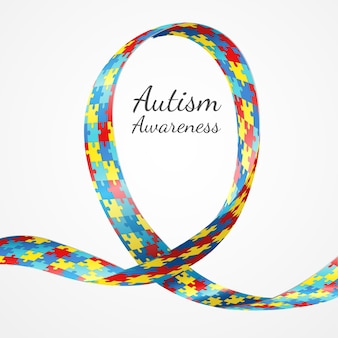Autism awareness colorful puzzle ribbon