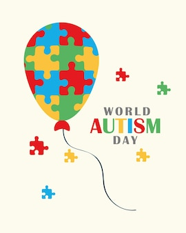 Autism awareness day greeting card with balloon and puzzles pieces