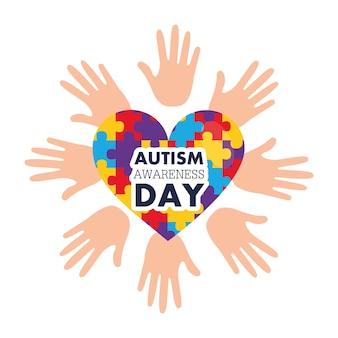 Аутизм день осознания открытыми руками и сердцем с головоломками Premium векторы
