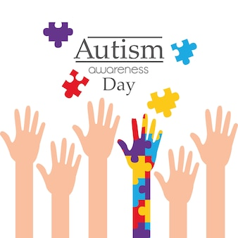 Autism awareness day raised hands support campaign