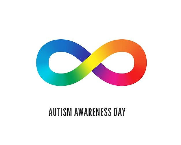 Autism awareness day symbol vector illustration. charity foundation for children with brain development disability logotype design. flamboyant infinity sign illustration with typography