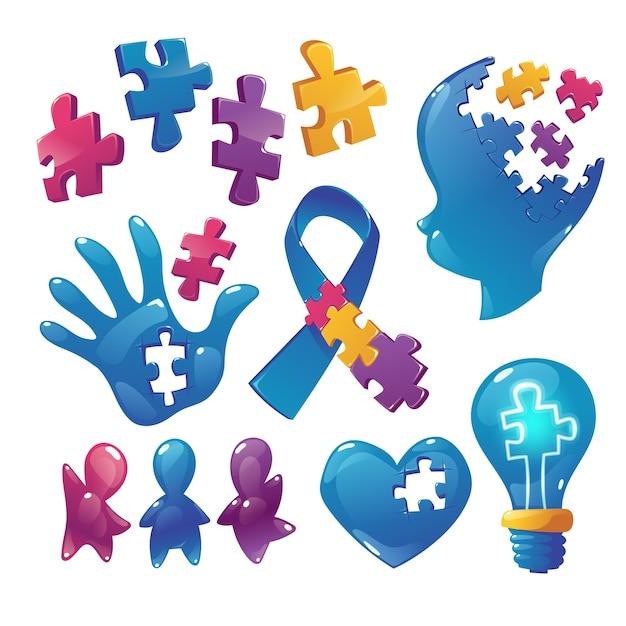Autism awareness icons puzzle pieces