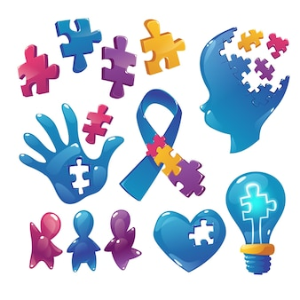 Autism awareness icons puzzle pieces