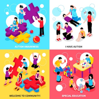 Autism awareness isometric illustration set with behavior problems and disease special education and community