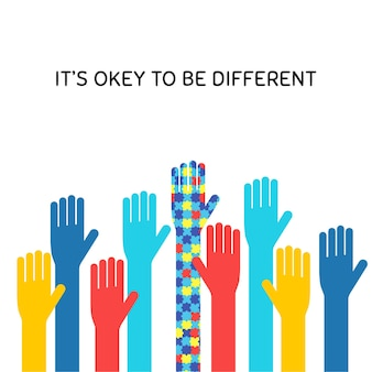 Понятие плоского баннера месяца осведомленности аутизма. аутичные дети поддерживают символ в своей фразе, которая может быть другой. красочная иллюстрация поднятых рук с типографикой. толерантность к синдрому рас