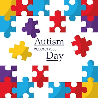 Autism awareness poster with puzzle pieces solidarity