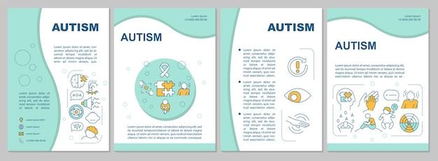 Шаблон брошюры аутизма. проблемы поведения и взаимодействия. флаер, буклет, печать листовок, дизайн обложки с линейными иконками. векторные макеты для презентаций, годовых отчетов, рекламных страниц