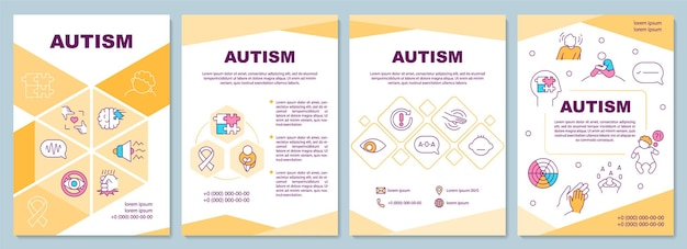 Autism brochure template. behavior and communicational problems.