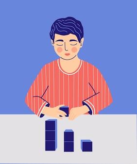 Autism children boy play alone as a symptom of mental health disease desire to organize