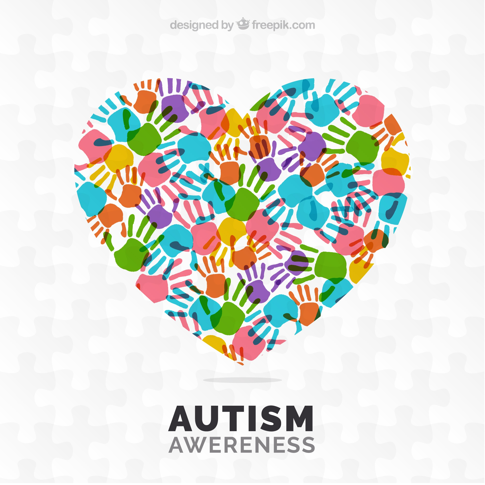 Autism day background with colorful handprints