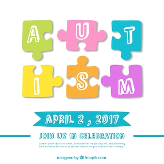 Autism day background with puzzle pieces