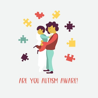 自閉症。子供の自閉症症候群の初期の兆候。ベクトルエンブレム。子供の自閉症スペクトラム障害asdアイコン。子供の自閉症の兆候と症状。