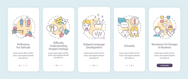 Autism signs onboarding mobile app page screen. preference to solitude, echolalia walkthrough 5 steps graphic instructions with concepts. ui, ux, gui vector template with linear color illustrations