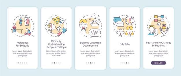 자폐증 징후 온보딩 모바일 앱 페이지 화면. 고독에 대한 선호, echolalia 연습 5 단계 그래픽 지침 개념. 선형 컬러 일러스트레이션이 있는 ui, ux, gui 벡터 템플릿