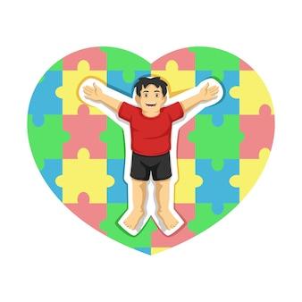 パズルのピースのカラフルな心を持つ自閉症。ベクトルイラスト