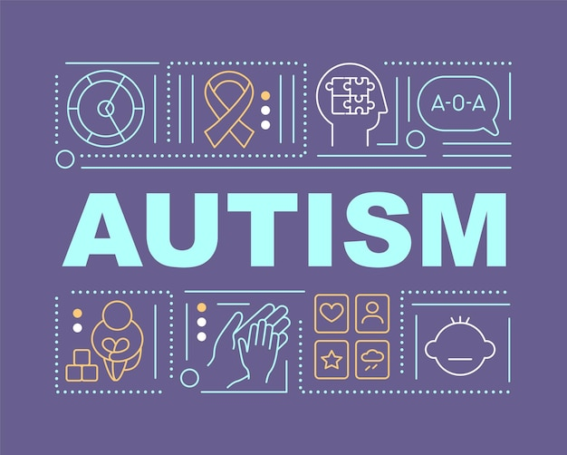 Autism word concepts banner. problems with people communication. infographics with linear icons on purple background. isolated creative typography. vector outline color illustration with text