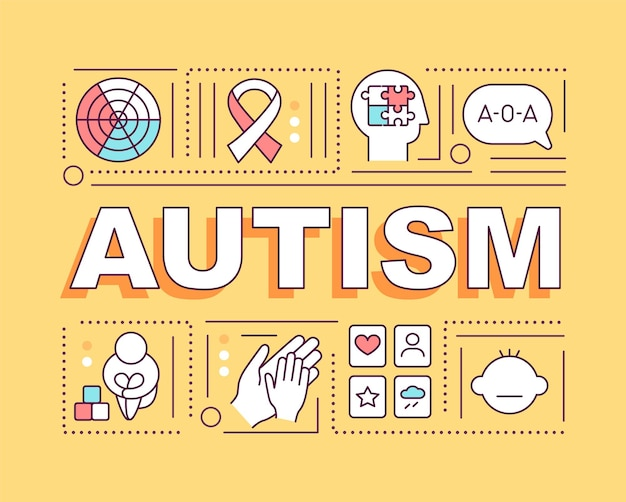 Autism word concepts banner. problems with people interection.