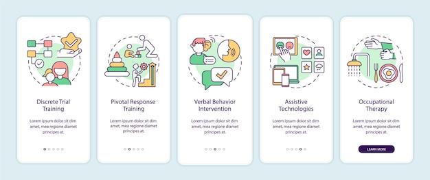 자폐 행동 교정 온보딩 모바일 앱 페이지 화면. 보조 기술 설명 개념이 포함된 5단계 그래픽 지침입니다. 선형 컬러 일러스트레이션이 있는 ui, ux, gui 벡터 템플릿