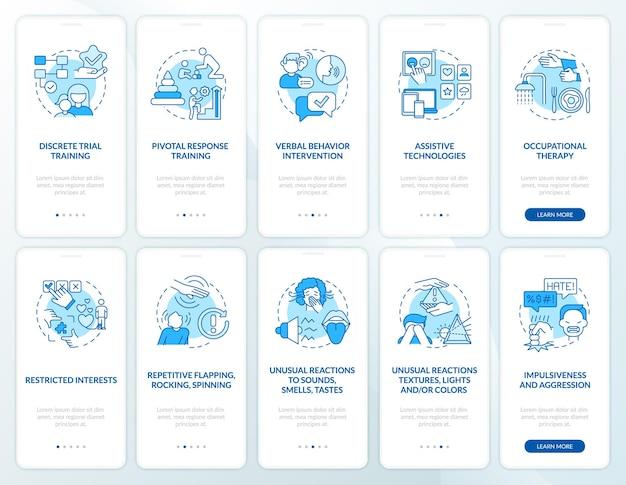 자폐 치료 방법 온보딩 모바일 앱 페이지 화면 설정. 자폐증 징후는 개념이 포함된 5단계 그래픽 지침을 안내합니다. 선형 컬러 일러스트레이션이 있는 ui, ux, gui 벡터 템플릿