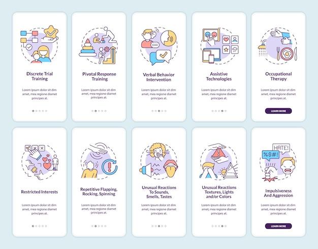 자폐증 치료 방법 온보딩 모바일 앱 페이지 화면 세트. 자폐증 증상은 개념이 포함된 5단계 그래픽 지침을 안내합니다. 선형 컬러 일러스트레이션이 있는 ui, ux, gui 벡터 템플릿