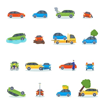 Auto accident involving car crash city street vector illustration.