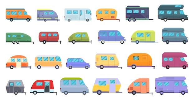 자동 캠핑 아이콘을 설정합니다. 웹에 대 한 자동 캠핑 아이콘 만화 세트