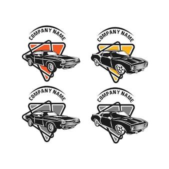 スポーツカーのシルエットを持つ自動車のロゴのベクトルデザインコンセプト