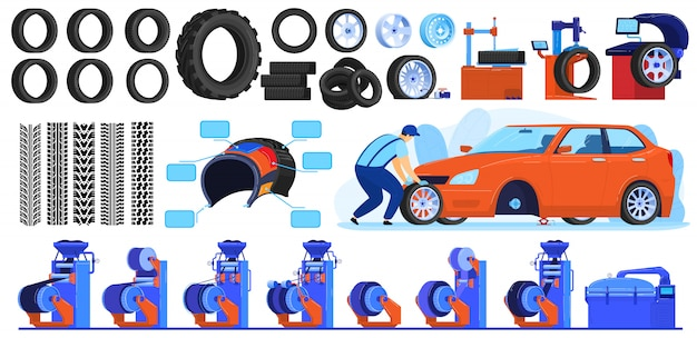 Auto car tire production vector illustrations.