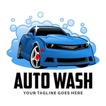 Auto car wash cartoon logo design inspiration