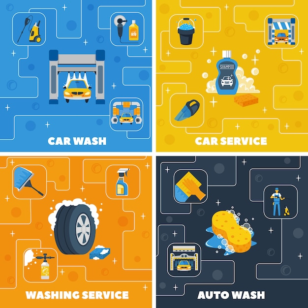Auto center car wash 4 flat icons square composition