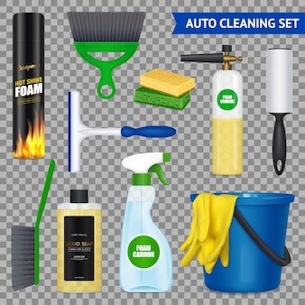 Auto cleaning set with