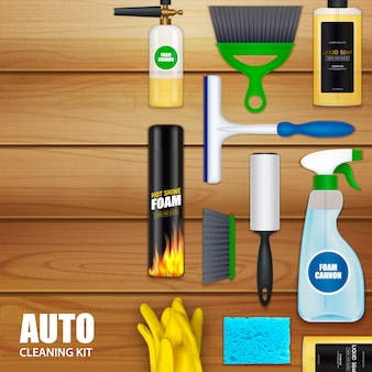 Auto cleaning set