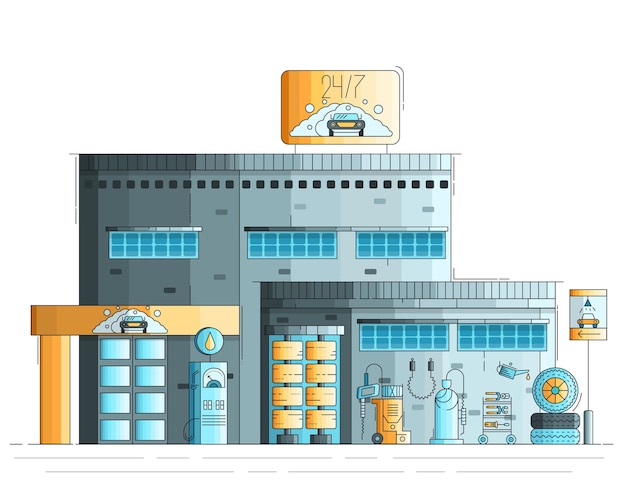 Auto cleaning and washing building exterior. twenty four hours working station illustration.