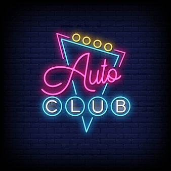 Auto club neon signs style text vector