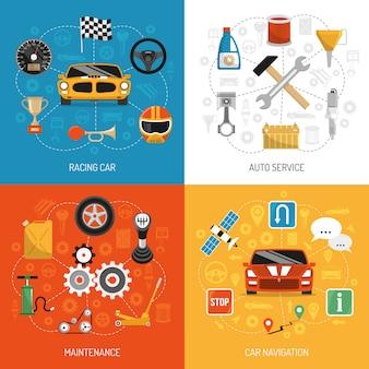 Auto concept 4 flat icons