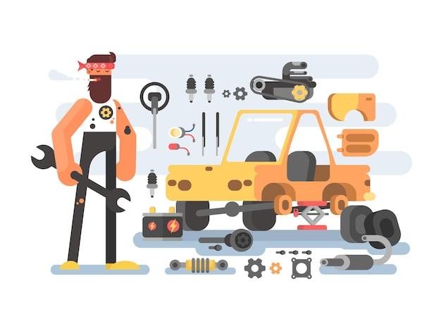 Мастерская по обработке автозапчастей. автосервис с механиком. векторная иллюстрация