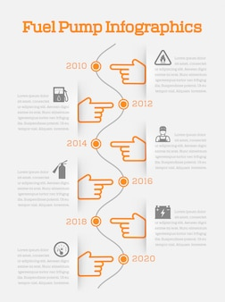 Auto gasoline  battery charger fuel pump station service timeline infographics with orange hands