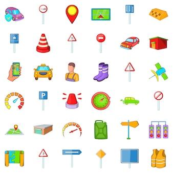 Auto icons set, cartoon style